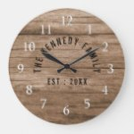 Rustic Brown Barnwood Farmhouse Family Large Clock