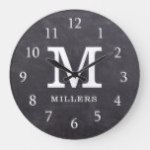 Rustic Chalkboard Farmhouse Family Monogram Large Clock