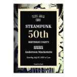 Steampunk Birthday Party 1800's White Clock Invitation
