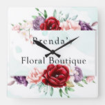Trendy Teal Watercolor Florals Monogram Square Wall Clock