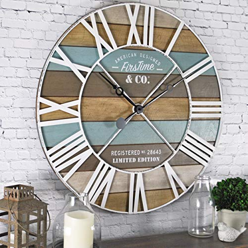 FirsTime & Co. Maritime Planks Wall Clock, 24″, Multicolor
