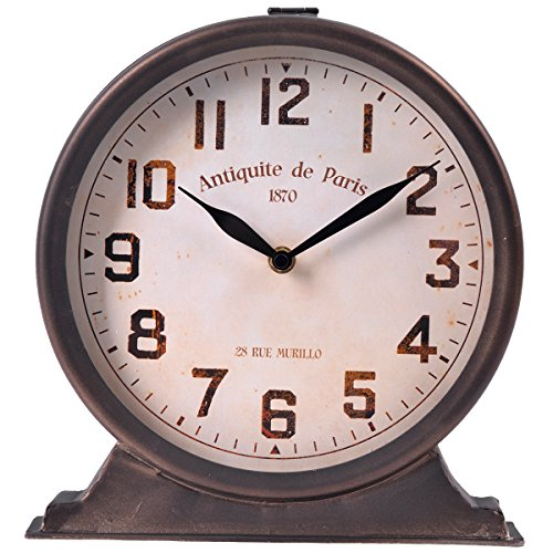 NIKKY HOME Antique Mantel Table Clock, Brown