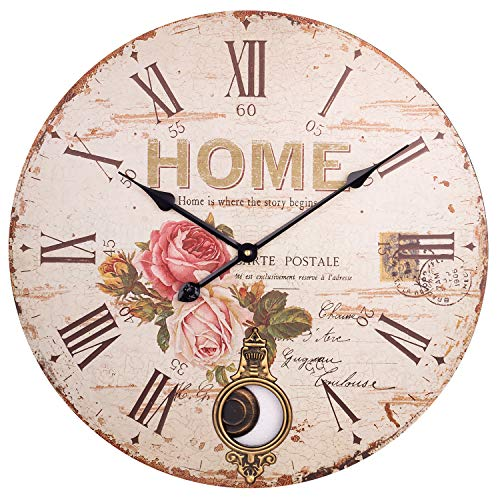 BEW Large Wall Clock, Rustic Rose Garden Silent Non-Ticking Battery Operated Quartz Movement, Decorative Pendulum Clock for Living/Dining/Bedroom/Kitchen (24 Inch)