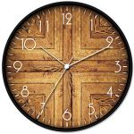 LONBUYS 12″ Wood Print Wall Clock,Round Vintage Rustic Country Tuscan Style Home Decor Wall Clock for Kitchen Bedroom Office Home Silent & Battery Operated Indoor Clocks (3364-D)