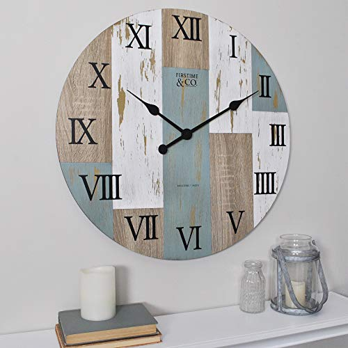 FirsTime & Co. 24″ Timber Planks Wall Clock, 24″, 24″