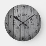 Grey Wood Farmhouse Family Name Round Clock