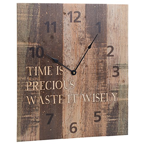 P. Graham Dunn Time Precious Waste Wisely Brown Rustic 18 x 21 Inch Wood Pallet Wall Hanging Clock