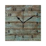 YiGee Rustic Wood Quiet Wall Clock – 8 Inch Quality Quartz Battery Operated Square Analog Silent Easy to Read Home/Office/School Clock
