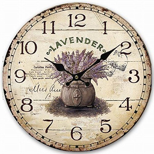 HQF Rustic Wooden Clock, Eruner Retro Antique Style 16-inch Wall Clocks Watches Timepieces for Kitchen Wall Living Room Beauty Room Newly Decorated Office Wall Clock