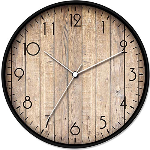 LONBUYS 12″ Wood Print Wall Clock,Round Vintage Rustic Country Tuscan Style Home Decor Wall Clock for Kitchen Bedroom Office Home Silent & Battery Operated Indoor Clocks (3364-C)