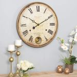 22″ Brown Gold Classic Pendulum Wall Clock Roman Numeral Wall Cloch Paris France Themed Wall Decor Analog Clock for Living Room Bedroom Dining Area Vintage Rustic Stylish Expensive Look, Metal, Wood