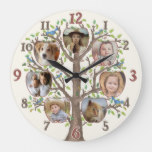 Family Tree Photo Collage 7 Pictures Name Lt Beige Large Clock