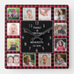 Red Plaid 12 Photo Collage Family Quote Christmas Square Wall Clock