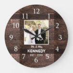 Rustic Wood Personalized Photo Wedding Anniversary Large Clock