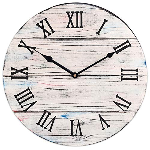 BEW Large Rustic Wall Clock, Vintage Indoor Decorative Clock with Roman Numerals, Silent Non-Ticking Wooden Clock for Living Room, Dining Room, Bedroom, Kitchen, Farmhouse – 18 Inch