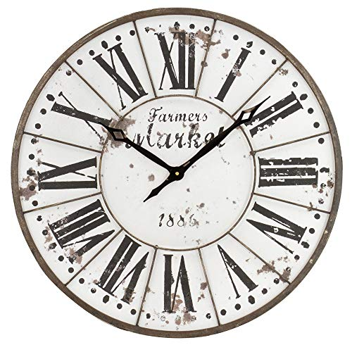 Aspire Monroy Rustic Farmhouse Wall Clock, Brown