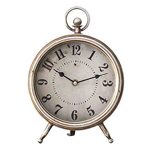 MODE HOME Vintage Brown Table Clock on Stand Decorative Desk Clock Rustic Mantle Clock Non-Ticking