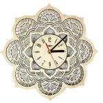 ShareArt Mandala Flower Silent Wood Wall Clock – Original Home Living Room Bedroom Kitchen Decor – Best Birthday Gift for Friends Men Woman – Unique Wall Art Design – Size 12 Inch