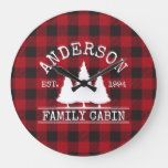 Cabin Family Name Red Buffalo Plaid Large Clock