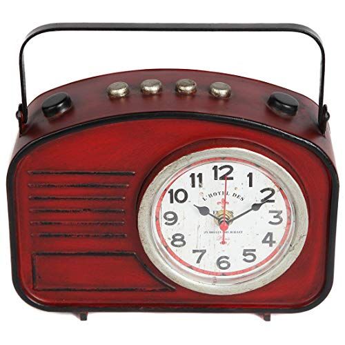 Lily's Home Vintage Inspired Radio Style Mantle Clock, Battery Powered with Quartz Movement, Fits with Antique Décor Theme