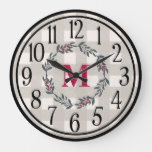 Modern Farmhouse Style Monogrammed Large Clock