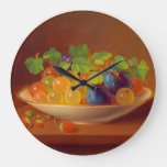 Old Fashioned Fruit in Bowl Large Clock