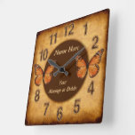 Personalize Vintage Design Monarch Butterfly Clock