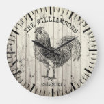 Rustic Vintage Wood Family Name Farm Chicken Large Clock