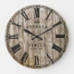 Rustic Wood Family Name Roman Numeral Farmhouse Large Clock
