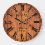 Wedding Anniversary Rustic Wood Mr Mrs Country Large Clock