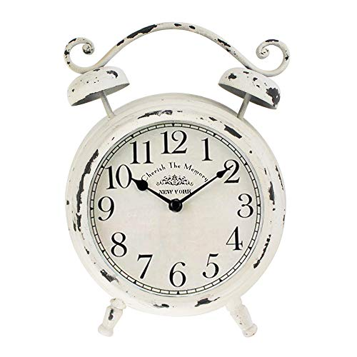 MODE HOME Vintage Cream Desk and Shelf Clock Decorative Table Clock on Stand Rustic Mantle Clock Non-Ticking