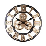 BEAMNOVA Large Wall Clock Decorative for Living Room Decor Steampunk Farmhouse Rustic Vintage Wall D?cor Timer, Bronze Roman 16 Inch