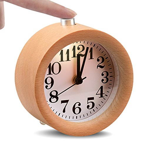 Glomarts Round Wooden Silent Desk Alarm Clock with Nightlight