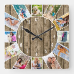 Custom 12 Photo Collage Rustic Natural Wood Square Wall Clock