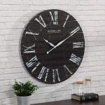FirsTime & Co. Midnight Shiplap Wall Clock, 29″, Distressed Black, White