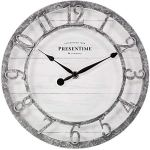 PresenTime & Co 10″ Farmhouse Series Wall Clock, Quartz Movement, Shiplap Style, Raised 3D Arabic Numeral, Galvanized Finish