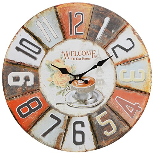 Lily's Home Rustic Vintage Inspired Decorative French Bistro Wall Clock, Fits Country or Retro Decor, Battery-Powered with Quartz Movement, Ideal Gift for Moms or Teachers (13″ Diameter)