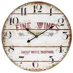 BEW Wooden Wall Clock, Rustic Fine Wines Vintage Decorative Clock, Large Silent Hanging Clock for Living Room, Bedroom, Farmhouse, Apartment, School, Hotel – 24 Inch