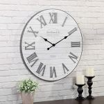 FirsTime & Co. Emmett Shiplap Wall Clock, 27″, Galvanized Silver, White