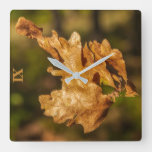 Autumn Leaf Square Wall Clock