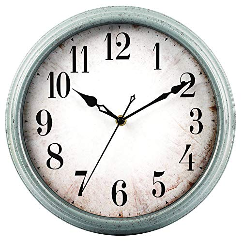 HYLANDA Vintage Wall Clock Decor, 12 inch Retro Silent Round Quartz Wall Clocks Battery Operated Decorative for Living Room/Kitchen/Home/Bathroom/Bedroom/Patio/Office(Light Blue)