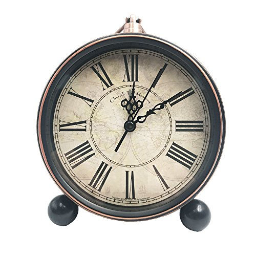 JUSTUP 5.2″ Classic Retro Clock, European Style Vintage Silent Desk Alarm Clock Non Ticking Quartz Movement Battery Operated, HD Glass Lens, Easy to Read (SZ03)