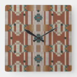 Stylish Teal Blue Green Taupe Brown Orange Pattern Square Wall Clock