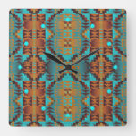 Trendy Teal Aqua Turquoise Blue Orange Brown Art Square Wall Clock