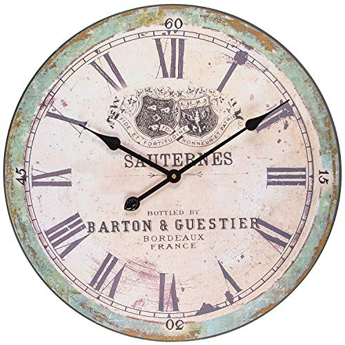 BEW Rustic Wall Clock, Large Vintage Sauternes Decorative Clock with Roman Numerals, Silent Wooden Hanging Clock for Living Room, Bedroom, Farmhouse, Apartment, School, Hotel – 24 Inch
