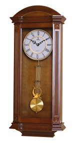 Pendulum Wall Clock, Silent Decorative Wood Clock With Swinging Pendulum, Battery Operated, Large Elegant Wooden Design, For Living Room, Kitchen, Office & Home D?cor, 27.25 x 11.25 inches