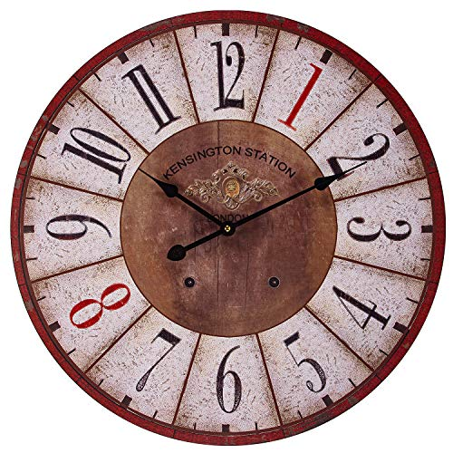 BEW Wooden Wall Clock, 24-Inch Rustic London Kengsinton Station Decorative Clock, Large Indoor Silent Frameless Farmhouse Clock for Living Room, Restaurant, Kids Bedroom, Kitchen, Apartment, Cafe