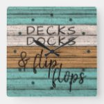 Funny Seaside Beachy Summer Quote Art Square Wall Clock