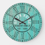 Rustic Green Wood Beach House Black Roman Numeral Large Clock