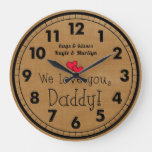 We love you, Daddy! Children's names Large Clock